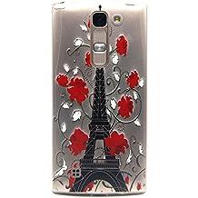 Voguecase® Para LG Magna/LG G4c ultra-slim fit TPU Funda de Silicona de Gel Carcasa Tapa Case Cover (flor roja/torre) + Gratis aguja de la pantalla stylus universales