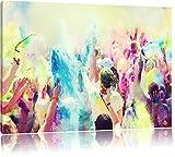 Farben Festival Holi Indien Format: 120x80 cm auf Leinwand, XXL riesige Bilder fertig gerahmt mit Keilrahmen, Kunstdruck auf Wandbild mit Rahmen, günstiger als Gemälde oder Ölbild, kein Poster oder Plakat