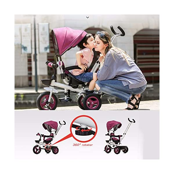 4 In 1 Kids' Trikes 6 Months To 5 Years 360° Swivelling Saddle 2-Point Safety Belt Kids Tricycle Blockable Rear Wheels Heigh Adjustable Handlebar Child Trike Maximum Weight 25 Kg,Brown BGHKFF ★Material: Steel frame, suitable for children from 6 months to 5 years old, the maximum weight is 25 kg ★ 4 in 1 multi-function: can be converted into baby strollers and tricycles. Remove the hand putter and awning, and the guardrail as a tricycle. ★Safety design: Golden triangle structure, safe and stable; front wheel clutch, will not hit the baby's foot; 2 point seat belt + guardrail; rear wheel double brake 2