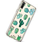 Herbests Funda compatible con Samsung Galaxy A50 Cover Case con Diseño Pintado Dibujos Transparente Suave TPU Silicona Estuche Crystal Clear Silicona Carcasa Case, 01