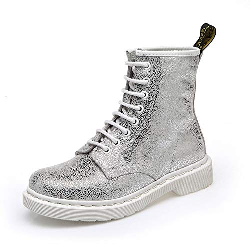 QPDUBB Ankle boots Women Ankle Boots Genuine Leather Cow Leather Silver/White Casual Female Shoes Spring/Summer/Autumn/Winter Ladies Shoes Footwear