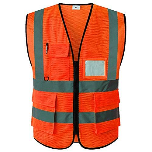 Preisvergleich Produktbild Warnweste für Herren Reflektierende Weste - High Visibility Sicherheitsausrüstung für Laufen Walking Jogging Radfahren Sicherheitsweste Outdoor Arbeitsweste (Color : Orange)