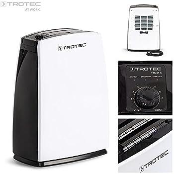 TROTEC TTK 51 E Déshumidificateur d'air, Déshumidificateur Electrique, Déshumidificateur Portable, Absorbeur d'humidité, Déshumidification max. 16 l/j, pour 31 m² max., Hygrostat intégré