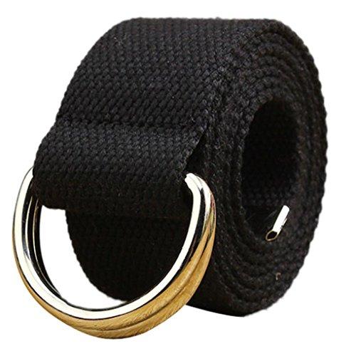 Tefamore Double Loop Canvas Gürtel Gürtel Gürtel Männer und Frauen Studenten Liebhaber Bund (Schwarz) (Männer Antiken Ring)