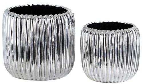 Blumentopf Übertopf Keramik silber hochwertig 2 Größen zur Auswahl Ø 16 und Ø 20 cm, Blumentöpfe Übertöpfe (Übertopf Ø 16 cm Höhe 14 cm)