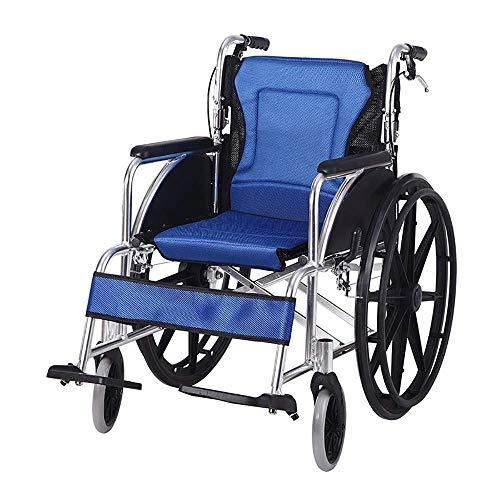 QTDH Älterer Manueller Rollstuhl - Mobiler Rollstuhl - Zusammenklappen Mit Handbremsen Rollstuhl - Für Ältere Menschen Und Kinder (Farbe : Blau)