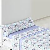 Burrito Blanco - Juego de Sábanas Coralina 947 para cama 90x190/200 cm, color azul