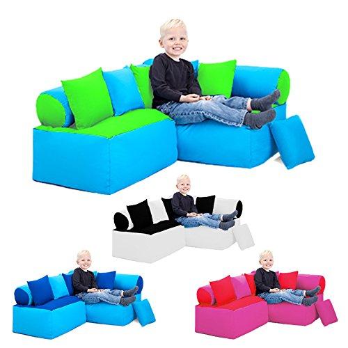 Kinder Möbel-sitzsack Ecke Sofa mit Kissen Lesen Sitzen, Erhältlich in 4 Farbe Kombinationen - Schwarz/weiß - 2