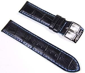 Lotus Leder Ersatzband Uhrenarmband 22mm schwarz-blau L15430/5