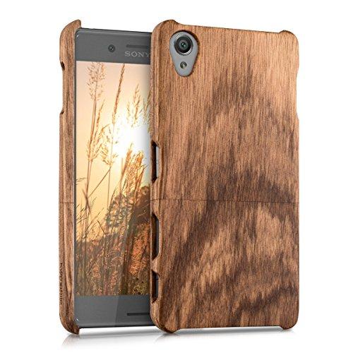 kwmobile Holz Hülle für Sony Xperia X Case Zebraholz - Handy Cover Schutzhülle aus Holz in Braun