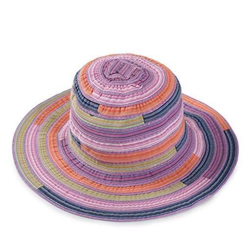 CANDLLY Hut Damen, Mode Damen Erwachsene Gestreifter Print Faltbarer Fischer Hut Sonnencreme Outdoor Cap Kopfschmuck ()