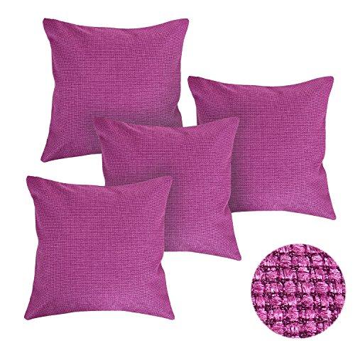 deconovo gewebt feine Leinenoptik Home Dekorative Hand Made Kissenbezug mit Reißverschlüsse 45,7x 45,7cm, Polyester-Mischgewebe, Rose Red-4pcs, 18x18 Inch -