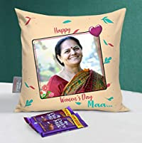 TIED RIBBONS Womens Day Special Gift Set for Mother(Personalized Cushion 12 inch x 12 inch with Filler, Dairy Milk Chocolates)