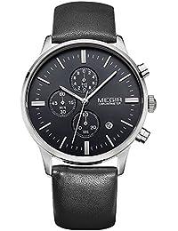 Los hombres Megir de cuarzo reloj de pulsera con cronógrafo para hombre (mecanismo de cuarzo, esfera y correa de piel, color negro