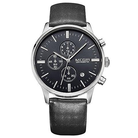 Montre à quartz masculine MEGIR avec affichage à chronographe noir et bracelet en cuir noir
