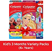 Colgate Kids Oral Care Variety Pack (for 6+ Years) – Motu-Patlu (Bubble Fruit) & Barbie (Strawberry) Tooth