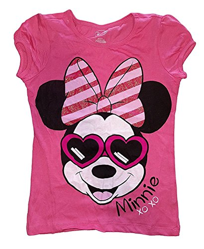 Disney Girls Minnie Mouse Sunglasses Puff Sleeves Fashion T Shirt - Pink (Sleeve Top Girls Puff)