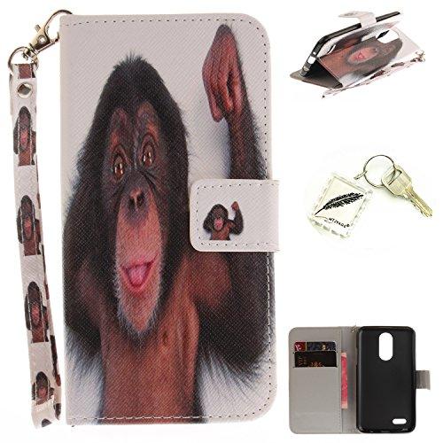 Preisvergleich Produktbild Silikonsoftshell PU Hülle für LG K4 (2017) (4,5 Zoll) Tasche Schutz Hülle Case Cover Etui Strass Schutz schutzhülle Bumper Schale Silicone case+Exquisite key chain X1#KE (5)