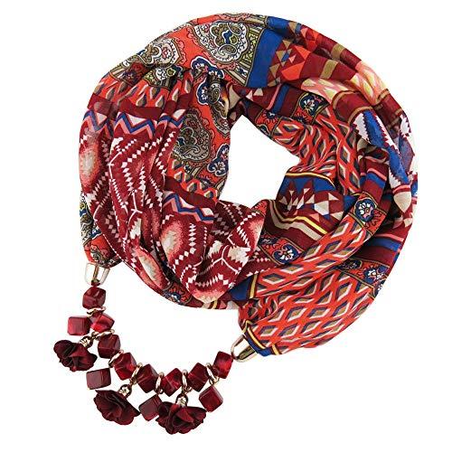 Taoran ciondolo donna sciarpa stampa geometrica modello donna ciondolo in chiffon quadrato cubo collana pendente fiore in resina - c_170cm