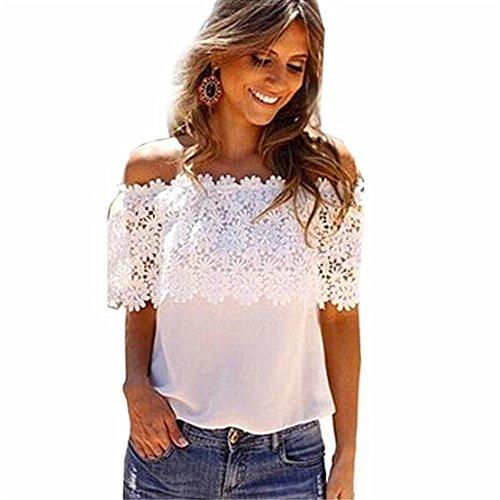 Sexy Frauen Aus Schulter Chic T-shirts , LILICAT Damen Beiläufig Tops Bluse Spitze Häkeln Chiffon Mode Hemd (Weiß, XXL) (Unten Shirt Strand-taste Nach)