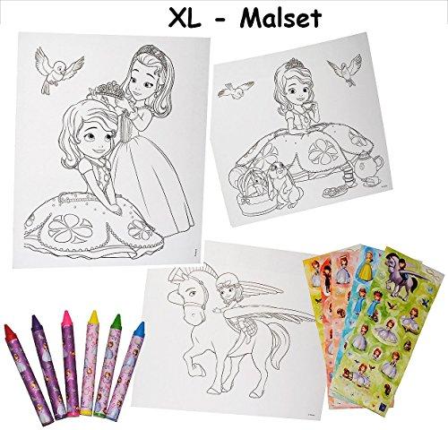 Unbekannt XL Malset / Zeichenset - Disney  Sofia The First  - mit 6 Wachsmalstifte + 77 Sticker / Aufkleber - Malvorlagen - auf einmal Prinzessin - für Mädchen ()