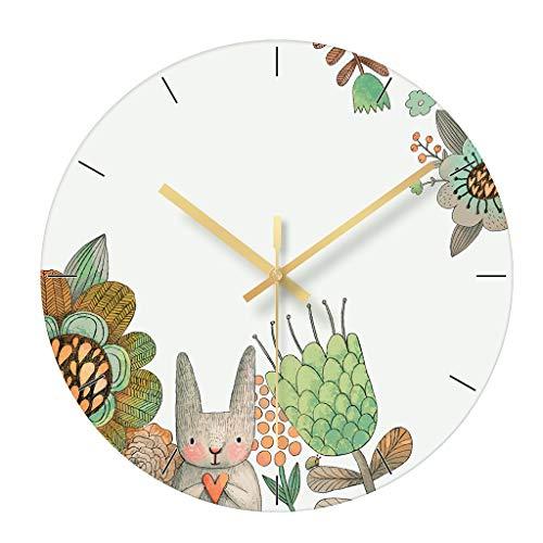 QRMH Runde Glaswanduhr 12 Zoll Animal Print, stilvolle Wanddekoration Wanduhr, Schlafzimmer, Wohnzimmer, Studie, Küche Batterie Wanduhr Stumm kein Ticken,B