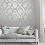 Henderson Interiors Chelsea Glitter Damask Wallpaper Soft Grey / Silver (H980504)