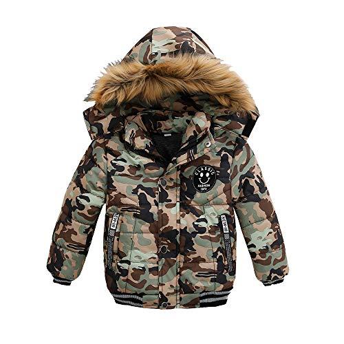 TTLOVE Mode Kinder Jacke Baby Jungen Mädchen Winter Dicken Mantel Gepolsterte Winterjacke Kapuzenjacke Kleidung(Tarnen,110 cm) -