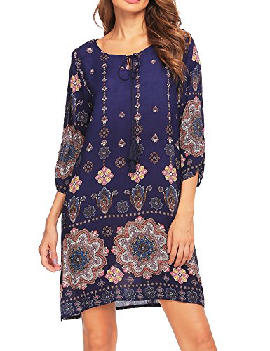 Beyove Damen Bohemian Tunika Strandkleid Minikleid Vintage Strandtunika Herbst A-Linie Kleid Vier Jahreszeiten Baumwolle Lose 3/4-Arm Rundhals