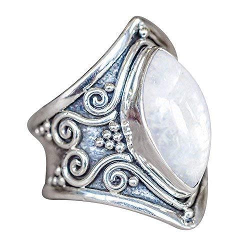 Vintage Mondstein Silberring YunYoud Natürlicher Edelstein Marquise personalisierter Ring modeschmuck damenring modering günstige goldene Ohrringe Eheringe verlobungsring
