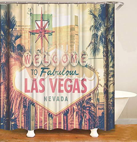 ajhgfjgdhkmdg Retro Las Vegas-Stadtbild-Grauer Kokosnuss-Baum HD einfach, Duschvorhang zu löschen -