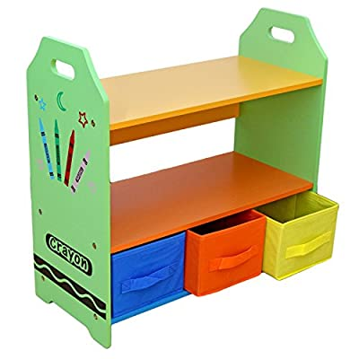 Bebe Style Children Sized Wooden Shelves with Three Storage Boxes_P