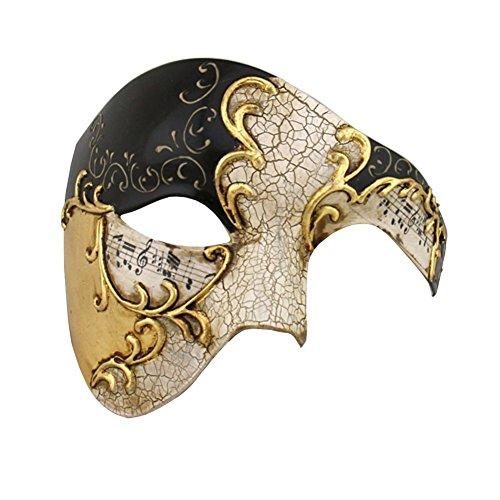 Preisvergleich Produktbild Luxus Maske Half Face Maske Masquerade Phantom der Oper Gr. Einheitsgröße, Gold - Schwarz/goldfarben