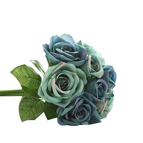 (Unechte Blumen ❤️ Timogee Künstliche Deko Blumen Gefälschte Blumen Seidenrosen Plastik Köpfe Braut Hochzeitsblumenstrauß für Haus Garten Floral Künstliche Fake Roses Flanell Blume (Dunkelblau))