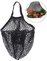 OUNONA Shopping Bag Reusable Grocery Bags Beach Bags Mesh Bag (Black)