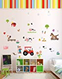 Fun 'Old MacDonald Had A Farm' Animals Nursery Rhyme Wall Stickers / Wall Decals Which Come To Life In Childrens Bedrooms, Kids Playrooms And Baby Nursery (Large)