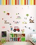 'Old Macdonald Had A Farm' coloré Stickers muraux Nursery Rhyme Thème Animaux qui viennent à la vie en Chambre d'enfant, enfants et bébé Salles, L