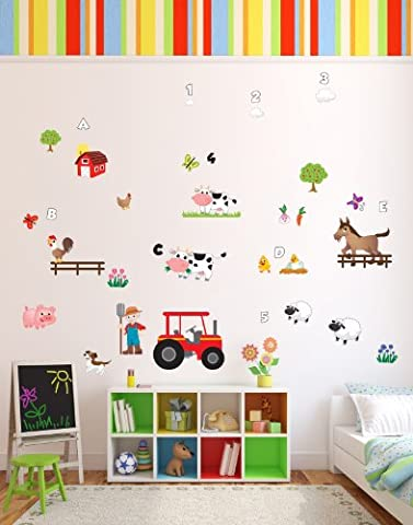 Colourful 'Old MacDonald Had A Farm' Animals Nursery Rhyme Themed Wall Stickers Which Come To Life In Childrens Bedrooms, Kids Playrooms And Baby Nursery (Small)