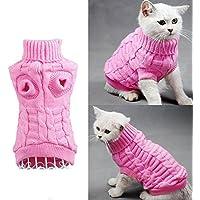 Cable Knit Suéter de Cuello Alto para Perros Pequeños y Gatos , Traje Rope de Tiempo