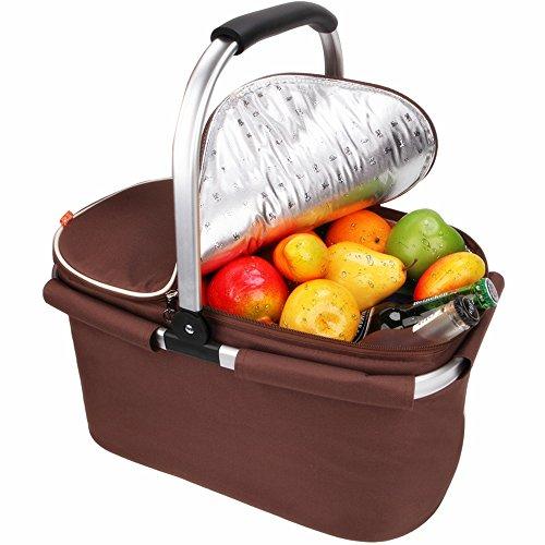 YONOVO Picknickkorb Kühltasche 22L Isolierte faltbare für Picknick, Camping, Grill, Strand, Park (Braun)