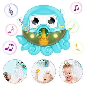 Gifort Seifenblasenmaschine Badewanne, Baby Badewannenspielzeug, Bubble Blase Badespielzeug, Octopus Seifenblasenmaschine Wasserspielzeug mit 42 Musik Lied für Kinder Geschenk-Blue