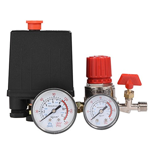 Regulador de válvula de control de interruptor de presión de compresor de aire pequeño con medidores...
