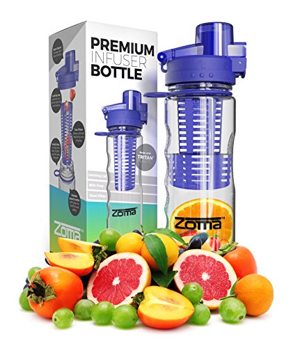 700mL Fruit Infuser Water Bottle - Leak Free Locking Cap - BPA Free Tritan Plastic - Sport Spout for Easy Drinking - Carrying Loop and Finger Grips for Easy Transport - Instructions and Recipes Included in Box by