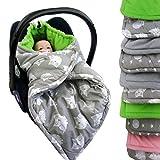 BAMBINIWELT Einschlagdecke, Decke für Babyschale, 3 und 5 Punkt-Gurt-System (grau-grün Eulen)