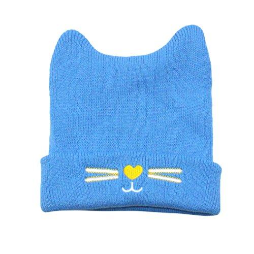 Hirolan Strickanleitung Babymütze Stirnband Strickmuster Mütze Kleinkind Kinder Mädchen Jungen Warm Gestrickt Kappe Karikatur Kätzchen Drucken Mützenwolle (Blau, 44-50cm) ()