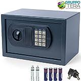 Bakaji - Caja fuerte de pared numérica digital, 31x 20x 20cm, electrónica, para casa, hotel + 4pilas AA y llaves de emergencia, color gris oscuro