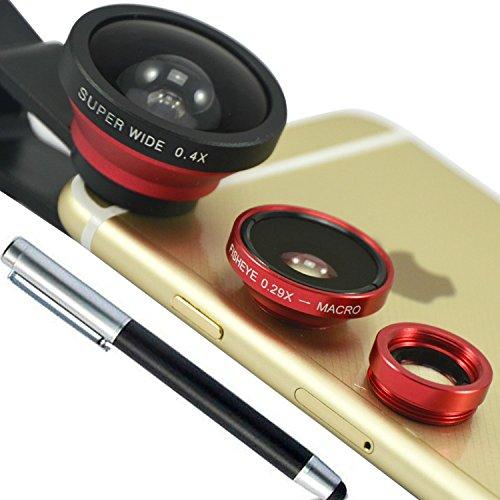 First2savvv JTSJ-CJ3-08G2 rot Kamera Adapter Optische 0.4X Super Weitwinkelobjektiv 0.29X FishEye Fischauge Objektiv Linse & Micro Objektiv Linsen Smartphone Handy Universal für HTC Desire X One X+ ONE SV One - Dual Max Htc One Sim