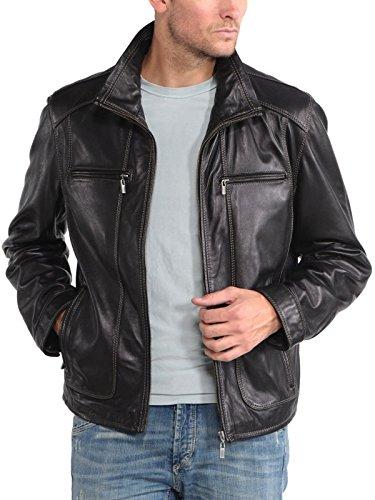 KBN Leather Herren Mantel Schwarz - Schwarz
