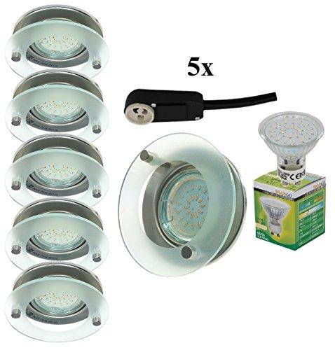 Trango 5er Set Rund Design Einbaustrahler Spot Einbauleuchten mit Deko-Glas inkl. 5x 3,0W GU10 LED LM & GU10 Sicherheit-Anschlußkasten TG6733R-052B