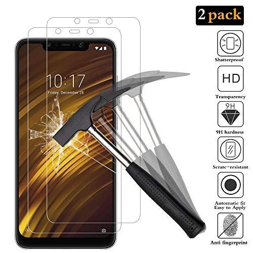 ANEWSIR 2X Pellicola Protettiva per Xiaomi pocophone F1, Premium Vetro Temperato Proteggi Schermo Telefono Cristallo Trasparente Invisibile Scudo Protezione di Display Cellulare